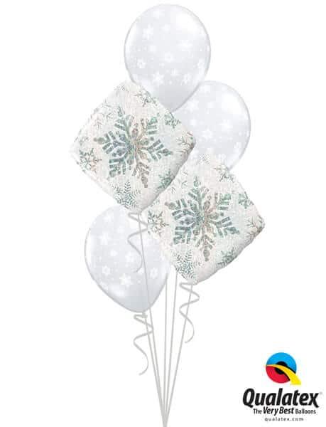 Bukiet 462# - 18″ / 46cm Snowflakes Sparkles White Qualatex #40091_2, 40800_3
