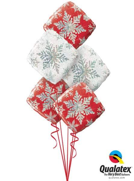Bukiet 465# - 18″ / 46cm Snowflake Sparkles Red Qualatex #40093_3, 40091_2