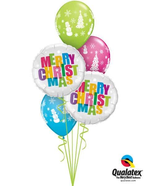 Bukiet 446# - 18″ / 46cm Merry Christmas Colors Qualatex #54145_2, 40075_3