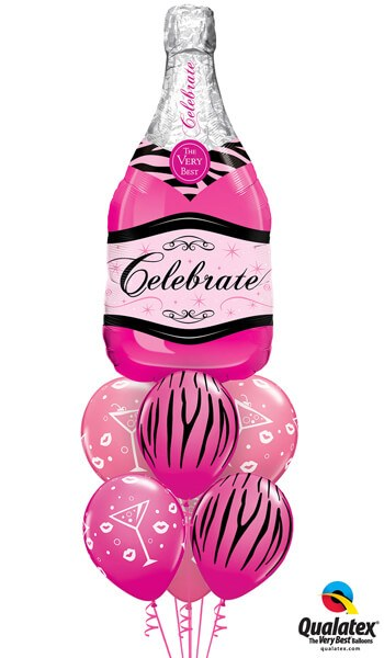 "Bukiet 440# - 39"" / 99cm Celebrate Pink Bubbly Wine Qualatex #15844, 12584_3, 19872_3"