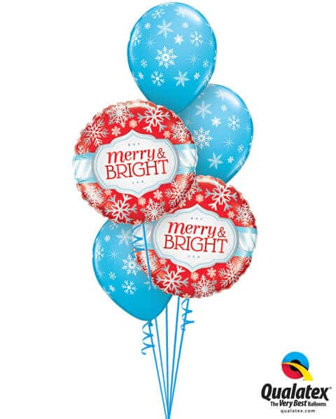 Bukiet 448# – 18″ / 46cm Merry & Bright Snowflakes Qualatex #18945_2, 33531_2