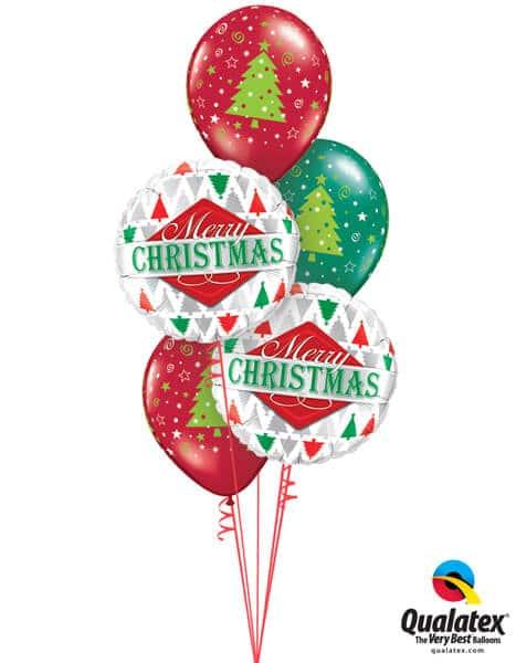 Bukiet 459# - 18″ / 46cm Merry Christmas Tree Patterns Qualatex #43496_2, 40751_3