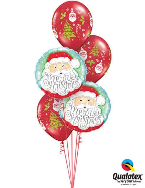 Bukiet 456# - 18″ / 46cm Merry Christmas Santa Qualatex #43516_2, 40571_3