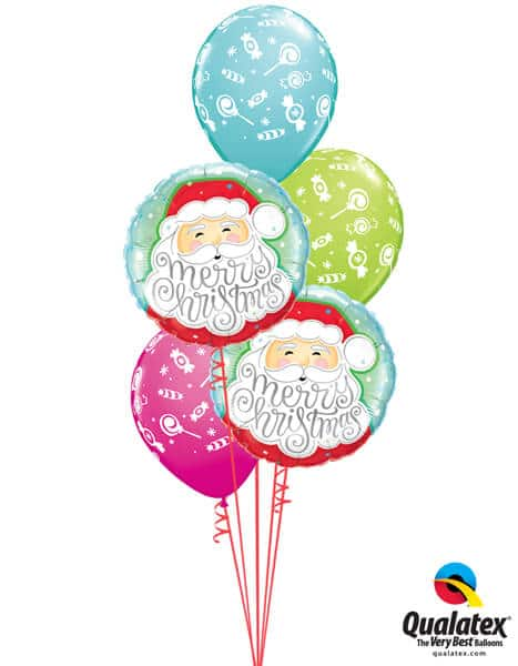 Bukiet 458# - 18″ / 46cm Merry Christmas Santa Qualatex #43516_2, 44781_3
