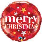 "18"" / 46cm Merry Christmas Stars Red Qualatex #43493"