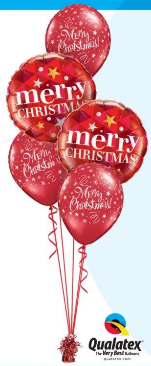 Bukiet 444# - 18″ / 46cm Merry Christmas Stars Red Qualatex #43493_2, 14610_3