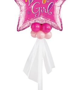 Bukiet 419# - 36″ / 91cm Welcome Baby Girl Stars Qualatex #16577, 25571_4, 43592_8, 18077_4