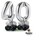 Bukiet 422# - 41″ / 104cm Number Four Silver Qualatex #30413, 30392, 13780_8, 42999_8