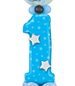 Bukiet 421# - 38″ / 96cm Number One Blue Stars Qualatex #16482, 12864, 41186_4, 43571_4, 43548_4, 14355_3