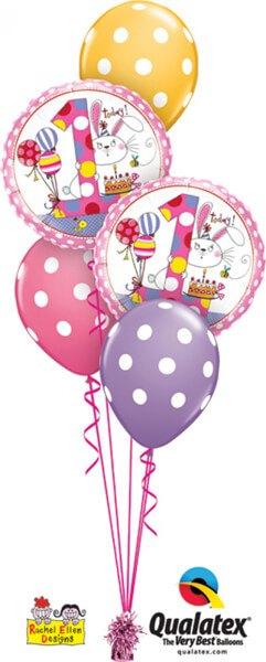 Bukiet 432# – 18″ / 46cm Rachel Ellen – Age 1 Bunny Polka Dots Qualatex #22615_2, 14248_3