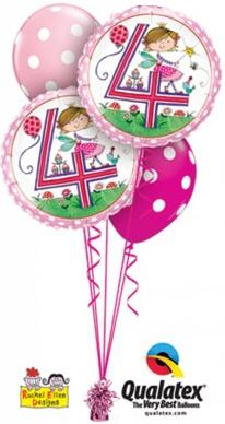 Bukiet 426# - 18″ / 46cm Rachel Ellen - Age 4 Fairy Polka Dots Qualatex #23913_2, 54138_2