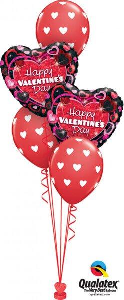 "Bukiet 405 Valentine""s Shimmering Hearts Qualatex #40865-2 18079-3"