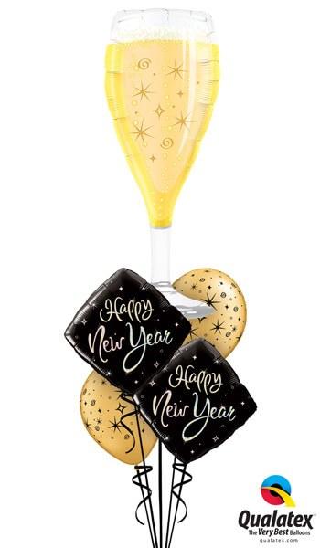 """Bukiet 485# - 39"""" / 99cm Bubbly Wine Glass Qualatex #16269, 27673_2, 12578_2"""