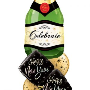 "Bukiet 482# - 39"" / 99cm Celebrate Bubbly Wine Bottle Qualatex #16122, 27673_2, 12578_2"