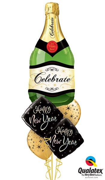 "Bukiet 482# - 39"" / 99cm Celebrate Bubbly Wine Bottle Qualatex #16122, 27673_2, 12578_2"