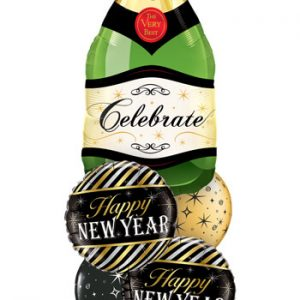 "Bukiet 484# - 39"" / 99cm Celebrate Bubbly Wine Bottle Qualatex #16122, 43525_2, 12578_2"