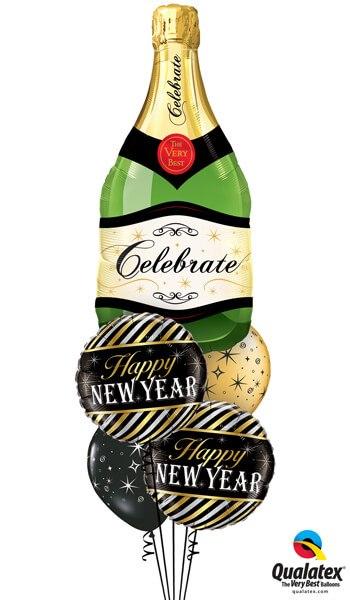 "Bukiet 484# - 39"" / 99cm Celebrate Bubbly Wine Bottle Qualatex #16122, 43525_2, 12578_2"