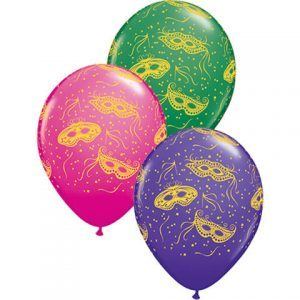 "11"" / 28cm 25ct / 25szt Mardi Gras Masks-A-Round Qualatex #15336"
