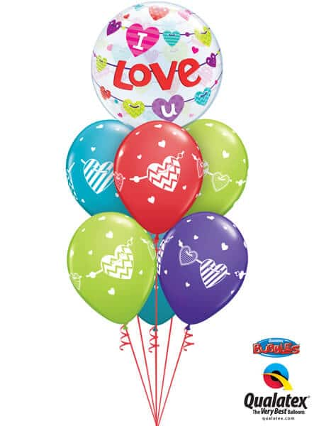 Bukiet 489# – 22″ / 56cm I Love U Banners Hearts Qualatex #46047, 48202_6