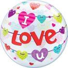 """22"""" / 56cm I Love U Banners Hearts Qualatex #46047"""