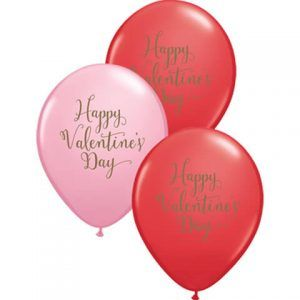 "11"" / 28cm 25ct / 25szt Happy Valentine's Day Script Qualatex #48203"