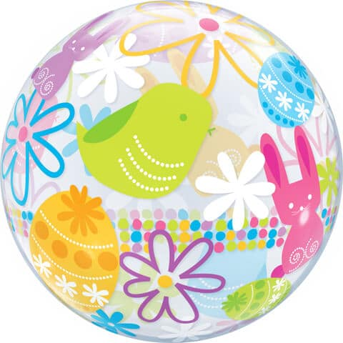 "22"" / 56cm Spring Bunnies & Flowers Qualatex #90595"