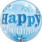 "22"" / 56cm Birthday Blue Starburst Sparkle Qualatex #48433"