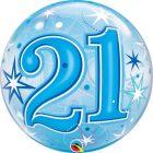 "22"" / 56cm 21 Blue Starburst Sparkle Qualatex #48441"