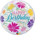 "22"" / 56cm Birthday Flowers & Filigree Qualatex #49087"