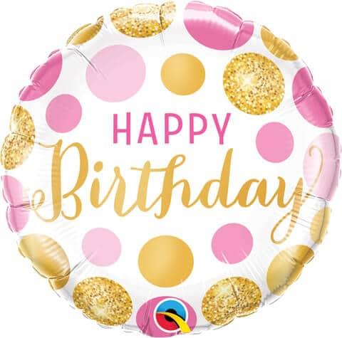 "18"" / 46cm Birthday Pink & Gold Dots Qualatex #49164"