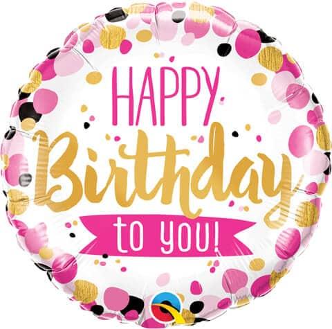 "18"" / 46cm Birthday Happy Birthday To You Pink & Gold Qualatex #49170"