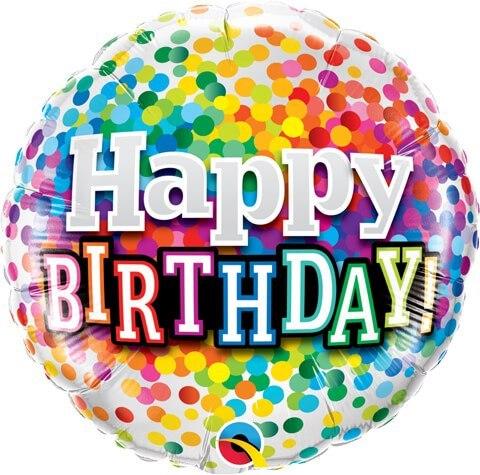 "18"" / 46cm Birthday Rainbow Confetti Qualatex #49496"