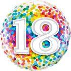 "18"" / 46cm 18 Rainbow Confetti Qualatex #49502"