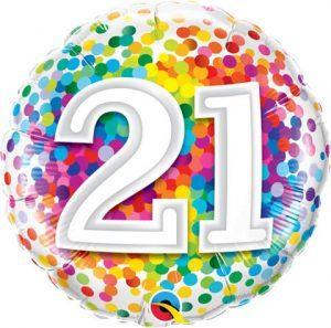"18"" / 46cm 21 Rainbow Confetti Qualatex #49508"