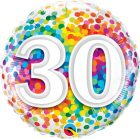 "18"" / 46cm 30 Rainbow Confetti Qualatex #49526"