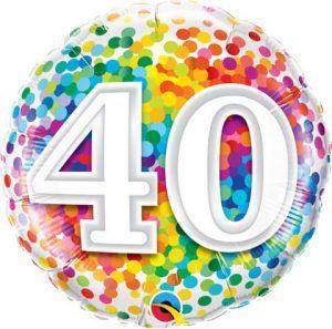 "18"" / 46cm 40 Rainbow Confetti Qualatex #49532"