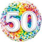 "18"" / 46cm 50 Rainbow Confetti Qualatex #49543"