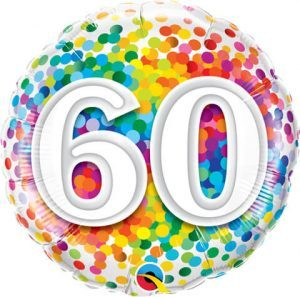 "18"" / 46cm 60 Rainbow Confetti Qualatex #49548"