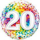 "18"" / 46cm 20 Rainbow Confetti Qualatex #49551"