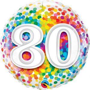 "18"" / 46cm 80 Rainbow Confetti Qualatex #49559"