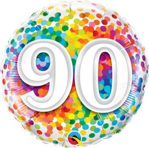 "18"" / 46cm 90 Rainbow Confetti Qualatex #49562"