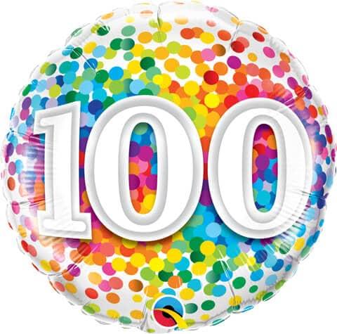 "18"" / 46cm 100 Rainbow Confetti Qualatex #49565"