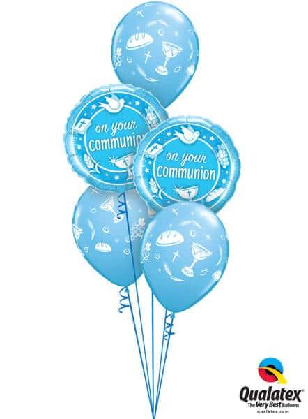 Bukiet 524 Blue First Communion Qualatex #49747-2 49678-3