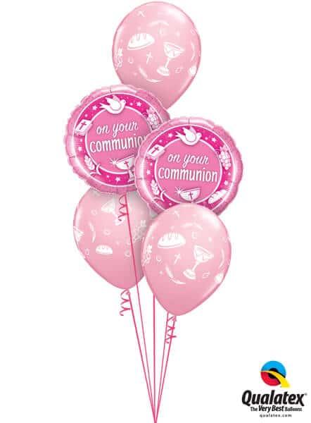 Bukiet 523 Pink First Communion Qualatex #49750-2 49679-3