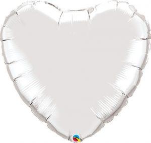 36″ / 91cm Solid Colour Heart Silver Qualatex #12659
