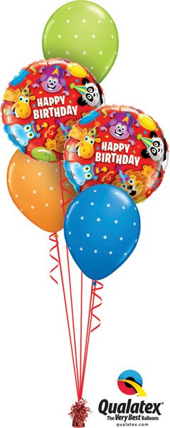 Bukiet 548 Happy Birthday Party Animals Qualatex #14182-2 18465-3