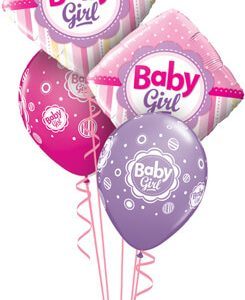 Bukiet 549 Baby Girl Springtime Stripes Qualatex #14400-2 18507-3