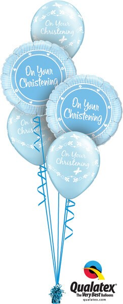 Bukiet 555 Baby Boy Christening Blue Qualatex #14433-2 46227-3