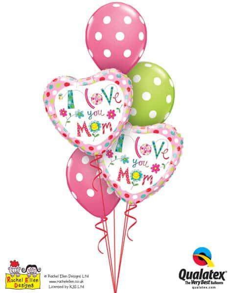 Bukiet 584 Mother's Day Big Polka Dots Qualatex #78282-2 14248-3
