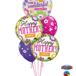 Bukiet 574 Happy Mother's Day Flowers & Butterflies Qualatex #11538 13228-2 85065-2